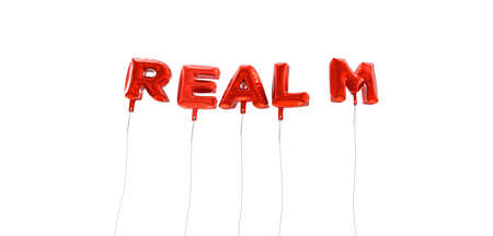 realm: REALM - word made from red foil balloons - 3D rendered.  Can be used for an online banner ad or a print postcard.