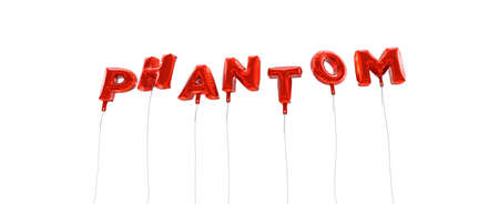 phantom: PHANTOM - word made from red foil balloons - 3D rendered.  Can be used for an online banner ad or a print postcard.