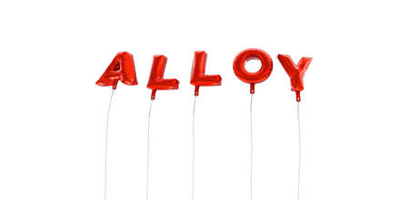 alloy: ALLOY - word made from red foil balloons - 3D rendered.  Can be used for an online banner ad or a print postcard.