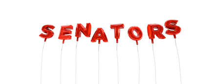 senators: SENATORS - word made from red foil balloons - 3D rendered.  Can be used for an online banner ad or a print postcard. Stock Photo