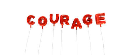 courage: COURAGE - word made from red foil balloons - 3D rendered.  Can be used for an online banner ad or a print postcard.