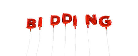 bidding: BIDDING - word made from red foil balloons - 3D rendered.  Can be used for an online banner ad or a print postcard.