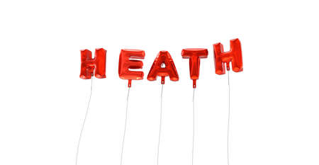 heath: HEATH - word made from red foil balloons - 3D rendered.  Can be used for an online banner ad or a print postcard.