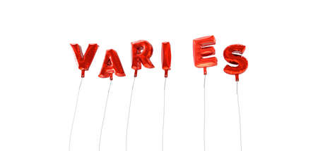 VARIES - word made from red foil balloons - 3D rendered.  Can be used for an online banner ad or a print postcard.