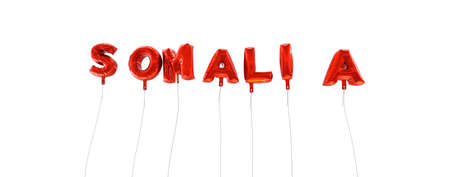 SOMALIA - word made from red foil balloons - 3D rendered.  Can be used for an online banner ad or a print postcard.
