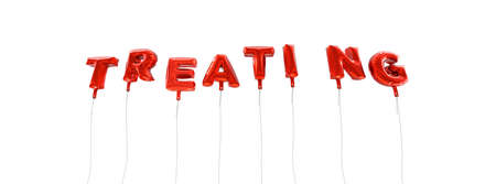 TREATING - word made from red foil balloons - 3D rendered.  Can be used for an online banner ad or a print postcard.