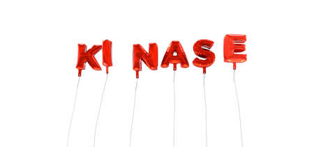 kinase: KINASE - word made from red foil balloons - 3D rendered.  Can be used for an online banner ad or a print postcard.