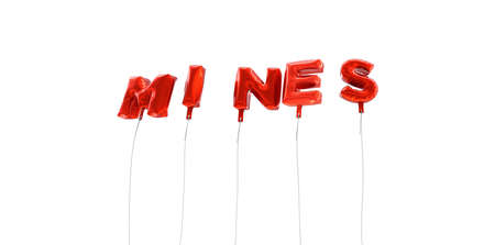 MINES - word made from red foil balloons - 3D rendered.  Can be used for an online banner ad or a print postcard. Stock Photo