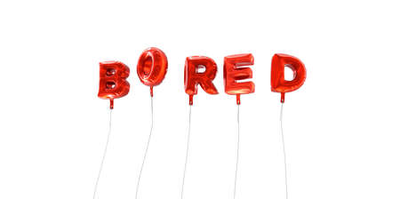 BORED - word made from red foil balloons - 3D rendered.  Can be used for an online banner ad or a print postcard.