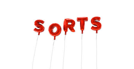 sorts: SORTS - word made from red foil balloons - 3D rendered.  Can be used for an online banner ad or a print postcard.