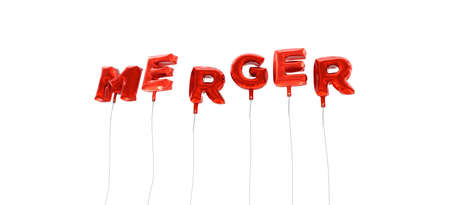 MERGER - word made from red foil balloons - 3D rendered.  Can be used for an online banner ad or a print postcard.