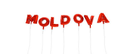 MOLDOVA - word made from red foil balloons - 3D rendered.  Can be used for an online banner ad or a print postcard. Stock Photo