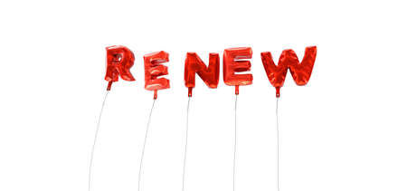 RENEW - word made from red foil balloons - 3D rendered.  Can be used for an online banner ad or a print postcard.
