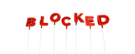 BLOCKED - word made from red foil balloons - 3D rendered.  Can be used for an online banner ad or a print postcard.