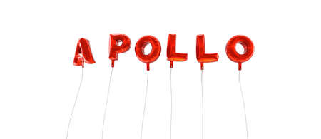 APOLLO - word made from red foil balloons - 3D rendered.  Can be used for an online banner ad or a print postcard. Stock Photo