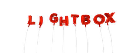 lightbox: LIGHTBOX - word made from red foil balloons - 3D rendered.  Can be used for an online banner ad or a print postcard.