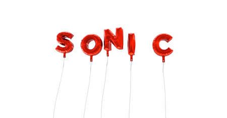 sonic: SONIC - word made from red foil balloons - 3D rendered.  Can be used for an online banner ad or a print postcard.