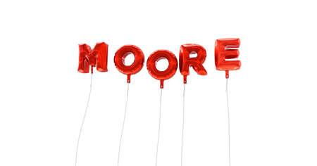 ムーア - 赤箔バルーン - 3 D レンダリングから作られた言葉。 オンラインのバナー広告や印刷のはがきに使用できます。