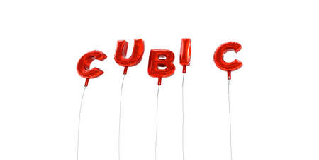 CUBIC - word made from red foil balloons - 3D rendered.  Can be used for an online banner ad or a print postcard. Фото со стока