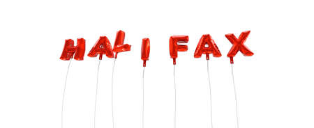 halifax: HALIFAX - word made from red foil balloons - 3D rendered.  Can be used for an online banner ad or a print postcard. Stock Photo