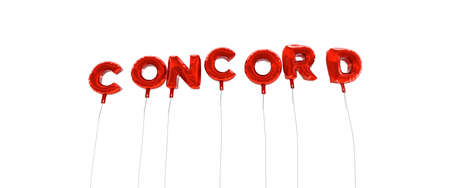 concord: CONCORD - word made from red foil balloons - 3D rendered.  Can be used for an online banner ad or a print postcard. Stock Photo