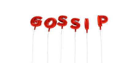 GOSSIP - word made from red foil balloons - 3D rendered.  Can be used for an online banner ad or a print postcard.
