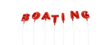 boating: BOATING - word made from red foil balloons - 3D rendered.  Can be used for an online banner ad or a print postcard. Stock Photo