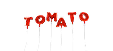 TOMATO - word made from red foil balloons - 3D rendered.  Can be used for an online banner ad or a print postcard. Stock Photo
