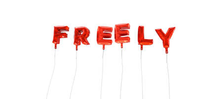 freely: FREELY - word made from red foil balloons - 3D rendered.  Can be used for an online banner ad or a print postcard.