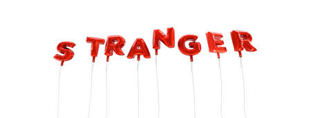 STRANGER - word made from red foil balloons - 3D rendered.  Can be used for an online banner ad or a print postcard.