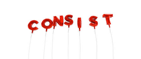 consist: CONSIST - word made from red foil balloons - 3D rendered.  Can be used for an online banner ad or a print postcard.