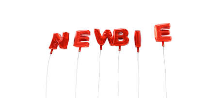 newbie: NEWBIE - word made from red foil balloons - 3D rendered.  Can be used for an online banner ad or a print postcard.