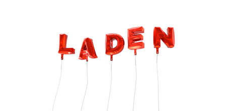 laden: LADEN - word made from red foil balloons - 3D rendered.  Can be used for an online banner ad or a print postcard.