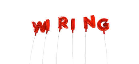 wiring: WIRING - word made from red foil balloons - 3D rendered.  Can be used for an online banner ad or a print postcard.