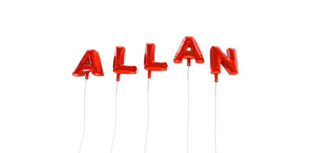 oracion: ALLAN - word made from red foil balloons - 3D rendered.  Can be used for an online banner ad or a print postcard.