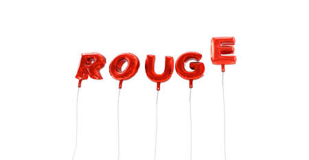 rouge: ROUGE - word made from red foil balloons - 3D rendered.  Can be used for an online banner ad or a print postcard. Stock Photo