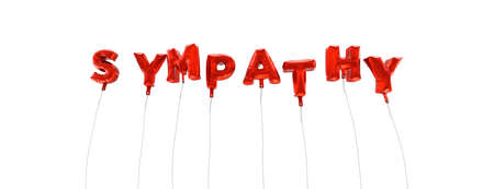 sympathy: SYMPATHY - word made from red foil balloons - 3D rendered.  Can be used for an online banner ad or a print postcard. Stock Photo