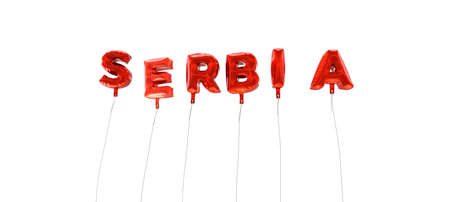 SERBIA - word made from red foil balloons - 3D rendered.  Can be used for an online banner ad or a print postcard.