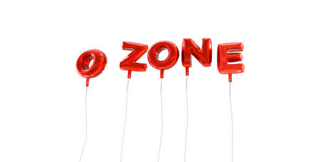 ozone: OZONE - word made from red foil balloons - 3D rendered.  Can be used for an online banner ad or a print postcard.
