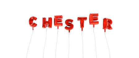 chester: CHESTER - word made from red foil balloons - 3D rendered.  Can be used for an online banner ad or a print postcard.