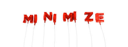 minimize: MINIMIZE - word made from red foil balloons - 3D rendered.  Can be used for an online banner ad or a print postcard. Stock Photo