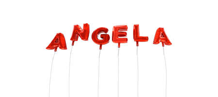 ANGELA - word made from red foil balloons - 3D rendered.  Can be used for an online banner ad or a print postcard.