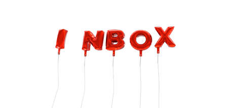 INBOX - word made from red foil balloons - 3D rendered.  Can be used for an online banner ad or a print postcard. Stock Photo