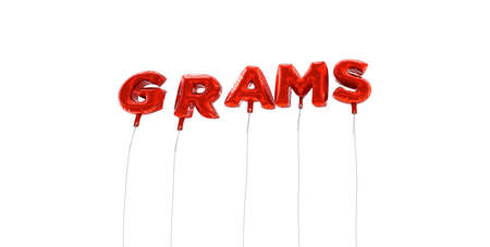 grams: GRAMS - word made from red foil balloons - 3D rendered.  Can be used for an online banner ad or a print postcard.