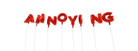 annoying: ANNOYING - word made from red foil balloons - 3D rendered.  Can be used for an online banner ad or a print postcard.