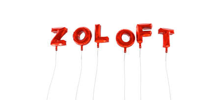 ZOLOFT - word made from red foil balloons - 3D rendered.  Can be used for an online banner ad or a print postcard.