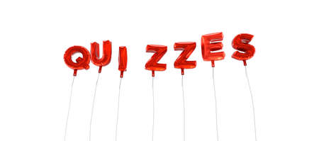 QUIZZES - word made from red foil balloons - 3D rendered.  Can be used for an online banner ad or a print postcard.