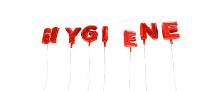 HYGIENE - word made from red foil balloons - 3D rendered.  Can be used for an online banner ad or a print postcard.