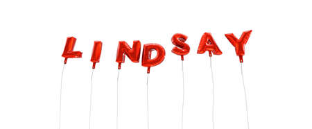 LINDSAY - word made from red foil balloons - 3D rendered.  Can be used for an online banner ad or a print postcard. Stock Photo
