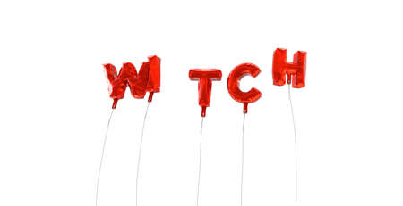 WITCH - word made from red foil balloons - 3D rendered.  Can be used for an online banner ad or a print postcard. Stock Photo